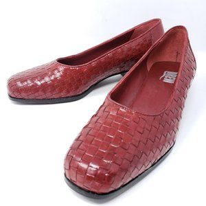 Drew Lucy Woven Red Leather Loafer Pumps 10M